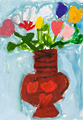 child's paiting - flowers in ceramic vase - PhotoDune Item for Sale