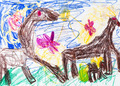 child's drawing - Horses graze in meadow - PhotoDune Item for Sale