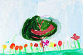 child's painting - green tree and flowers - PhotoDune Item for Sale