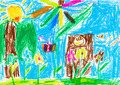 child's drawing - summer lawn with tree and flowers - PhotoDune Item for Sale