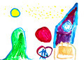 child's drawing - new year scenery - PhotoDune Item for Sale
