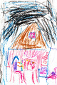 child's drawing - girl in house at night - PhotoDune Item for Sale