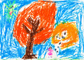 child's drawing - orange autumn trees - PhotoDune Item for Sale