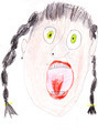 child's drawing - Portrait of a screaming woman - PhotoDune Item for Sale