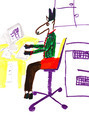 child's drawing - donkey in office - PhotoDune Item for Sale