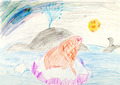 child's drawing - whale and seal on ice block in ocean - PhotoDune Item for Sale