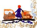 child's drawing - woman on train station - PhotoDune Item for Sale