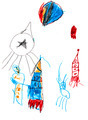 child's drawing - space rockets - PhotoDune Item for Sale