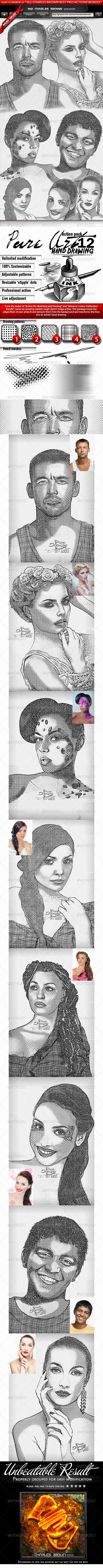 Pure Art Hand Drawing 12 – Classic Hedcut - Photo Effects Actions