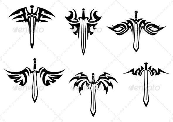 Tribal Tattoos with Swords and Daggers - Tattoos Vectors