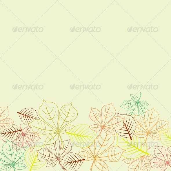 Autumnal Background with Leaves Shapes - Seasons Nature