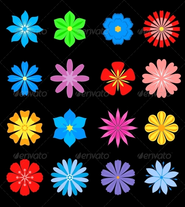 Set of Flower Blossoms - Flourishes / Swirls Decorative