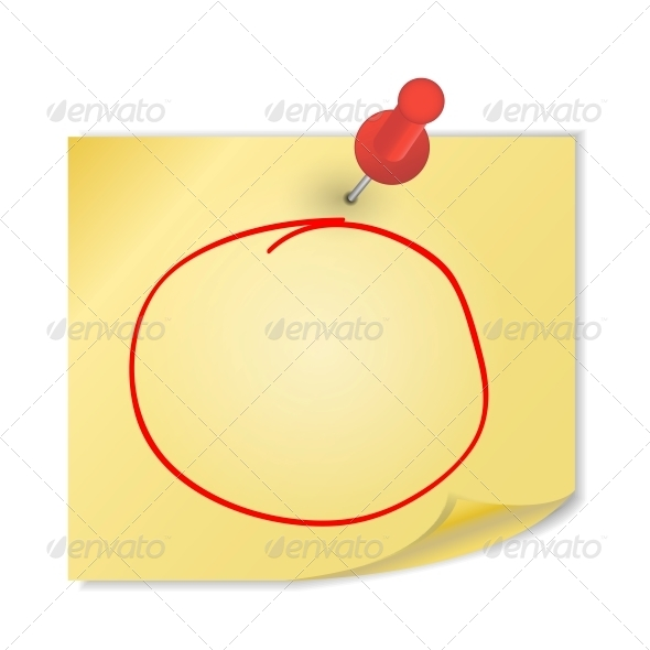 GraphicRiver Yellow Paper with Pin on White Background Vector 4720355