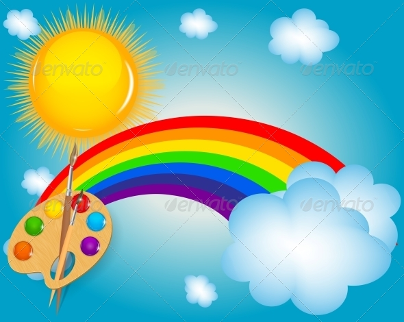 GraphicRiver Cloud Sun Rainbow Vector Illustration Background 4720439