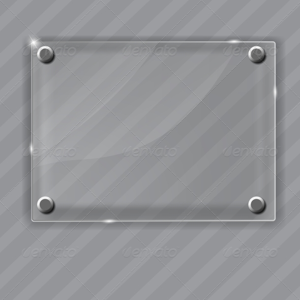 GraphicRiver Glass Frame on Abstract Metal Background 4720519