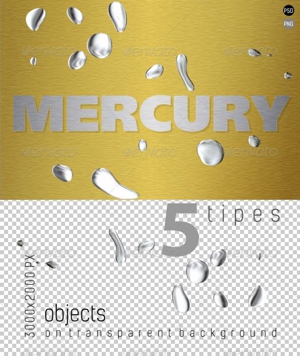 Mercury Liquid Metal on Transparent Backgrounds