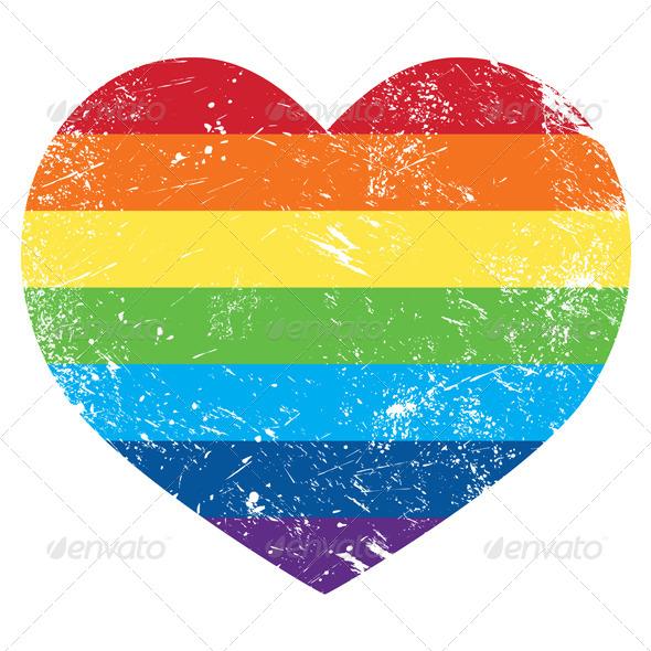 GraphicRiver Gay Rights Rainbow Retro Heart Flag 4549967