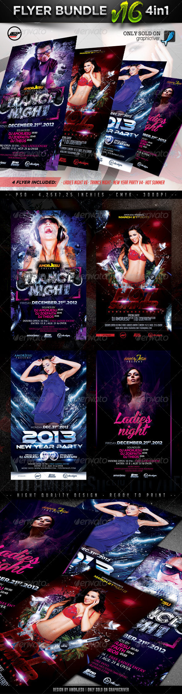 Flyer Bundle Vol16 - 4 in 1 - Clubs & Parties Events