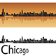 Chicago Skyline in Orange Background - GraphicRiver Item for Sale
