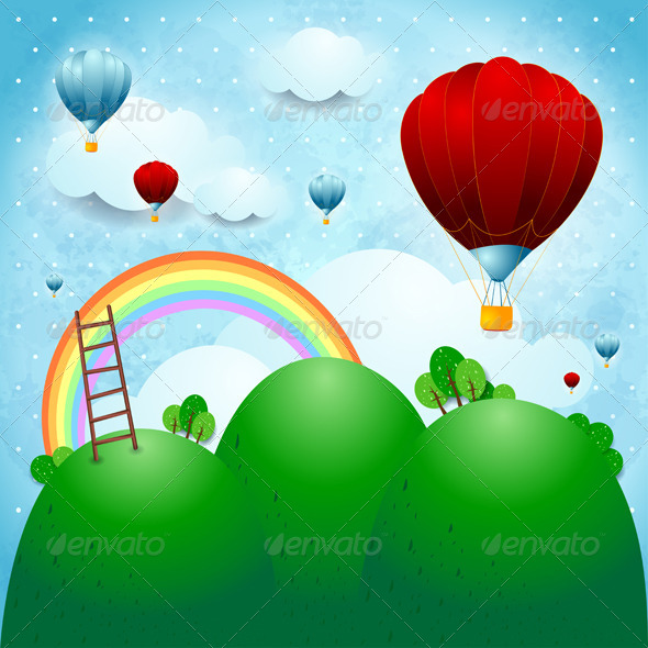 GraphicRiver Fantasy Landscape with Hot Air Balloons 4721709