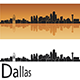 Dallas Skyline in Orange Background - GraphicRiver Item for Sale