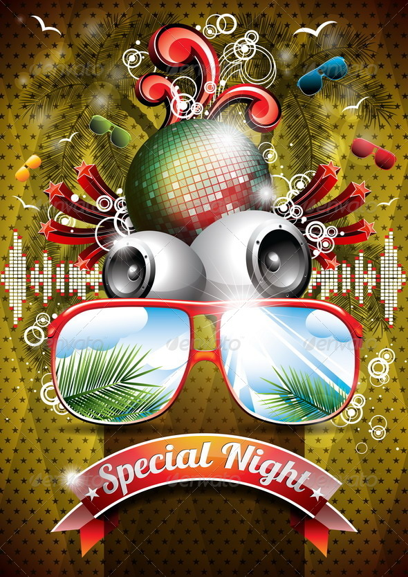 GraphicRiver Summer Beach Party Flyer Design with Disco Ball 4721744