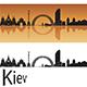 Kiev Skyline in Orange Background