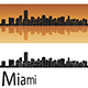 Miami skyline in Orange Background - GraphicRiver Item for Sale