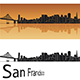 San Francisco Skyline in Orange Background - GraphicRiver Item for Sale