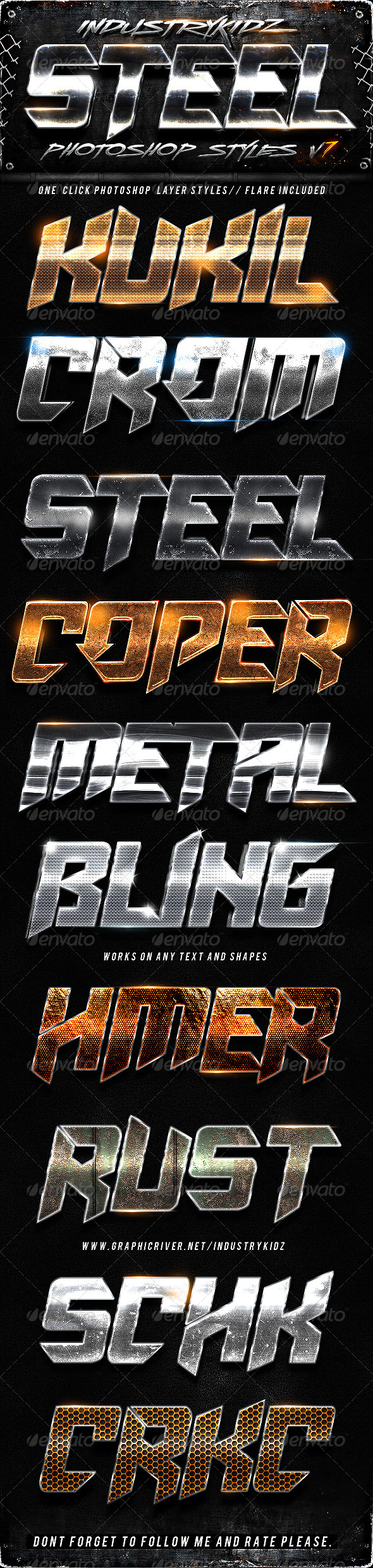 Steel Photoshop Layers Styles V7 - Text Effects Styles