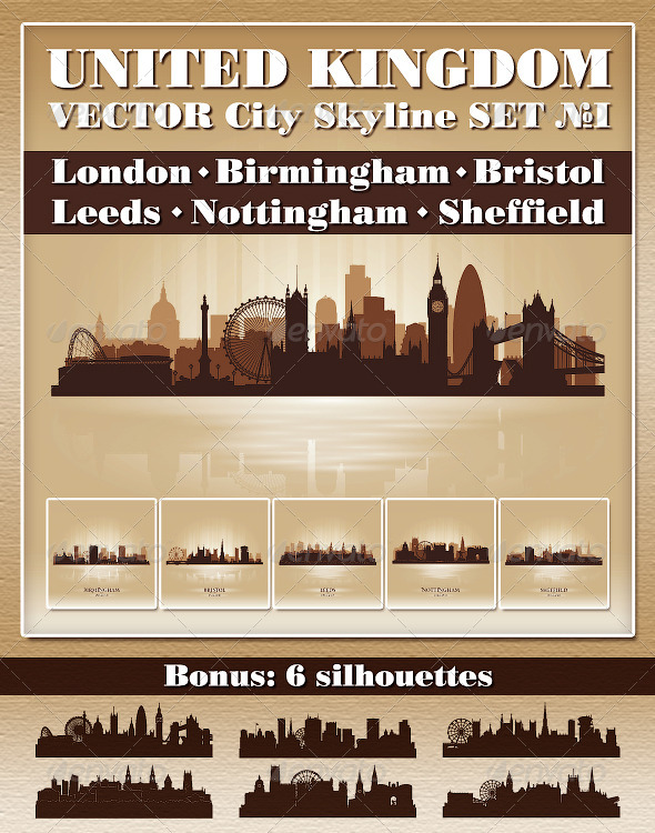 GraphicRiver Vector City Skyline United Kingdom Set Number 1 4722265