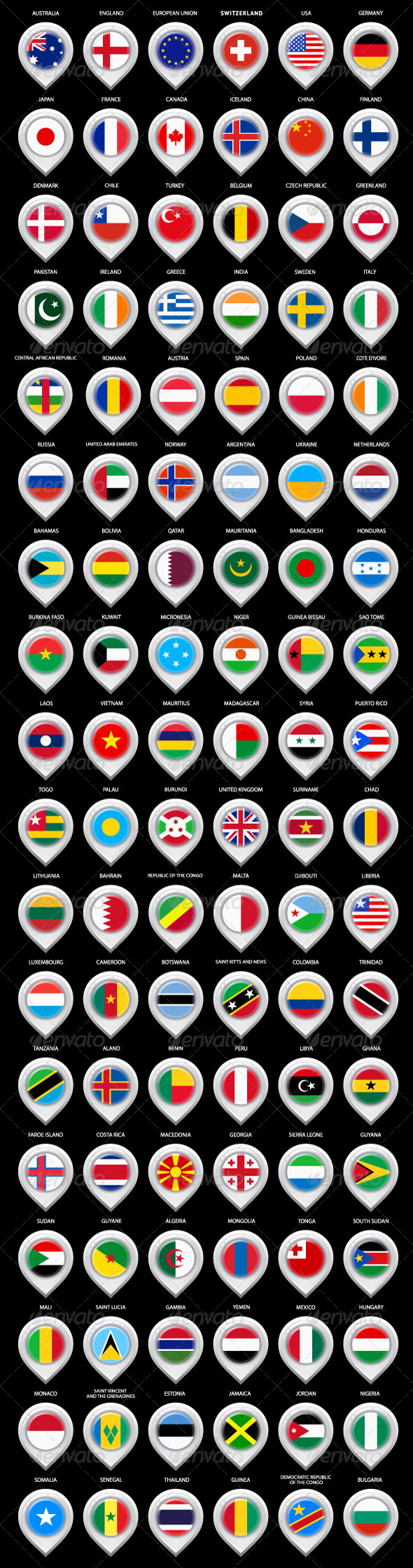 108 Map Pins with Flags