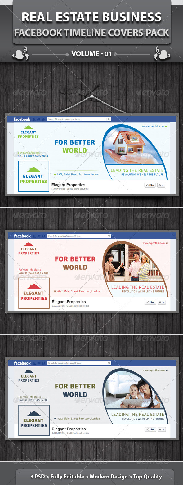 GraphicRiver Real Estate Business FB Timeline Covers Pack v1 4664514