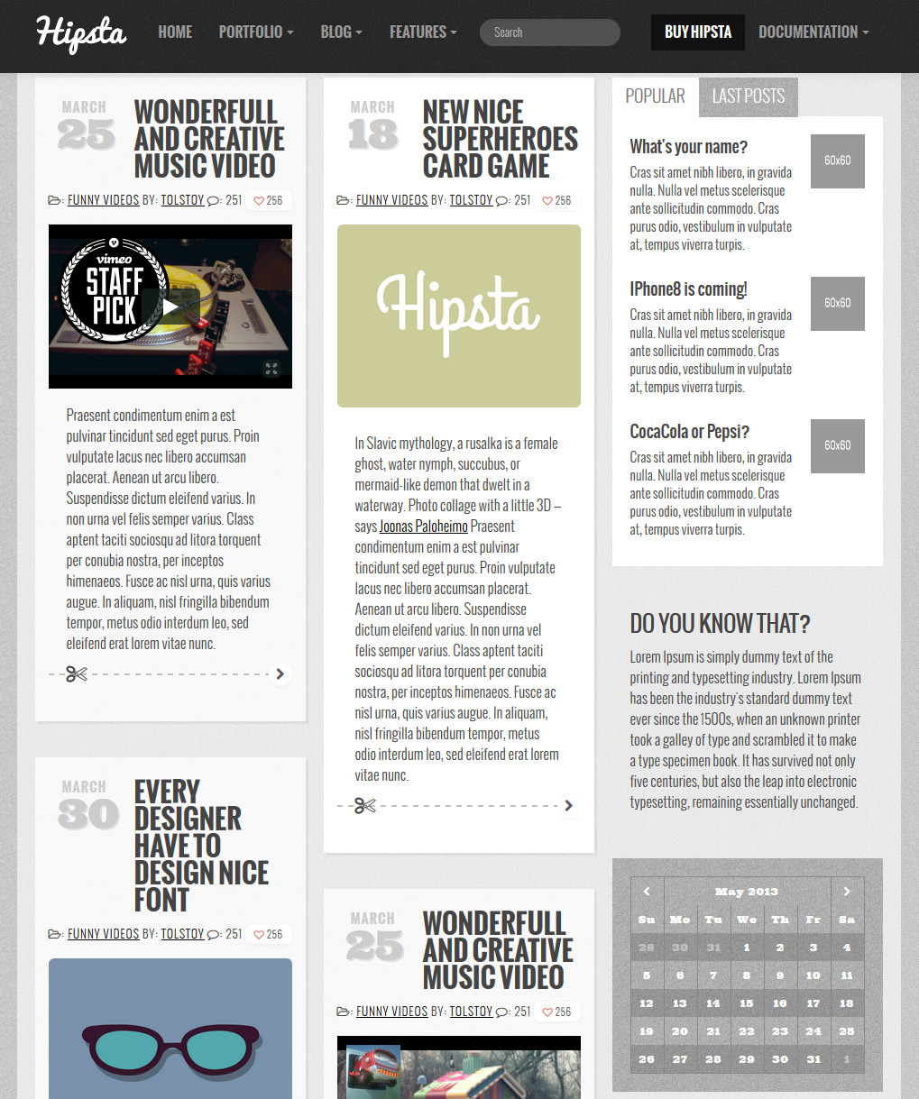 Hipsta Responsive - HTML Template