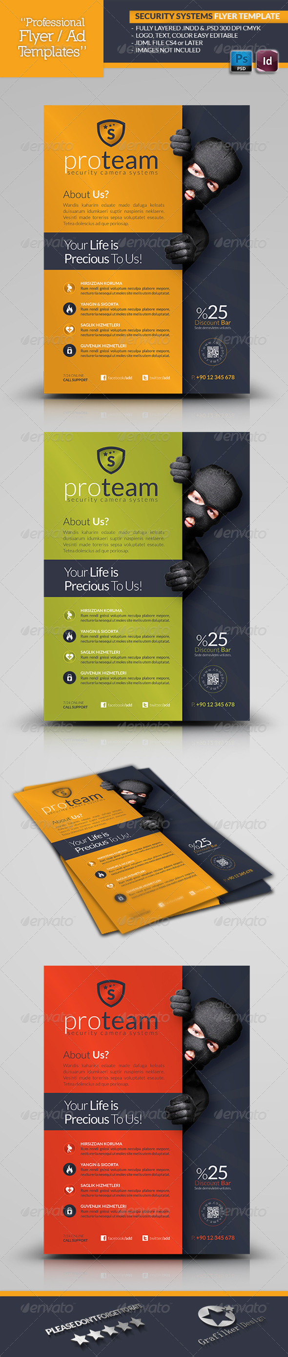 GraphicRiver Security Systems Flyer Template 4723053