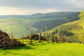 Spring landscape in the Carpathian mountains with fence - PhotoDune Item for Sale
