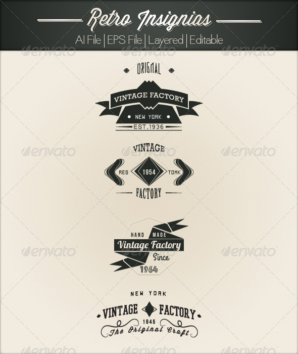 GraphicRiver 4 Retro Insignias 4720408