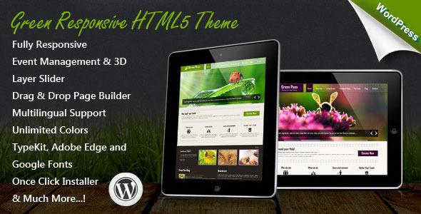 ThemeForest Green Responsive WordPress Theme 4719053