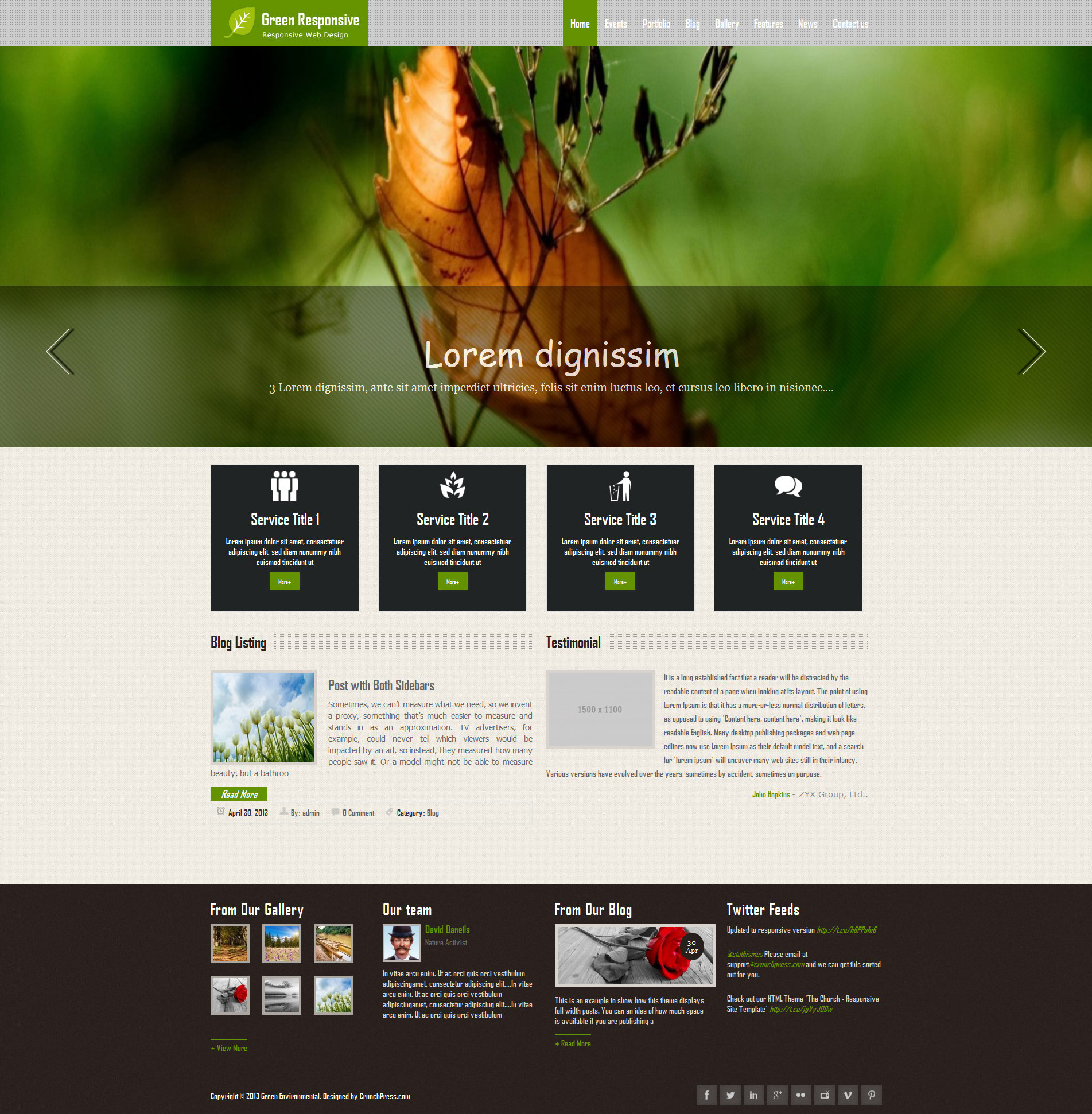 Green WordPress Themes Green Responsive WordPress Theme by CrunchPress | ThemeForest
