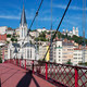 View of Lyon with red footbridge - PhotoDune Item for Sale