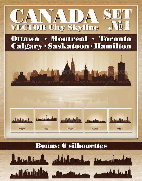 GraphicRiver Vector City Skyline Canada Set Number 1 4725931