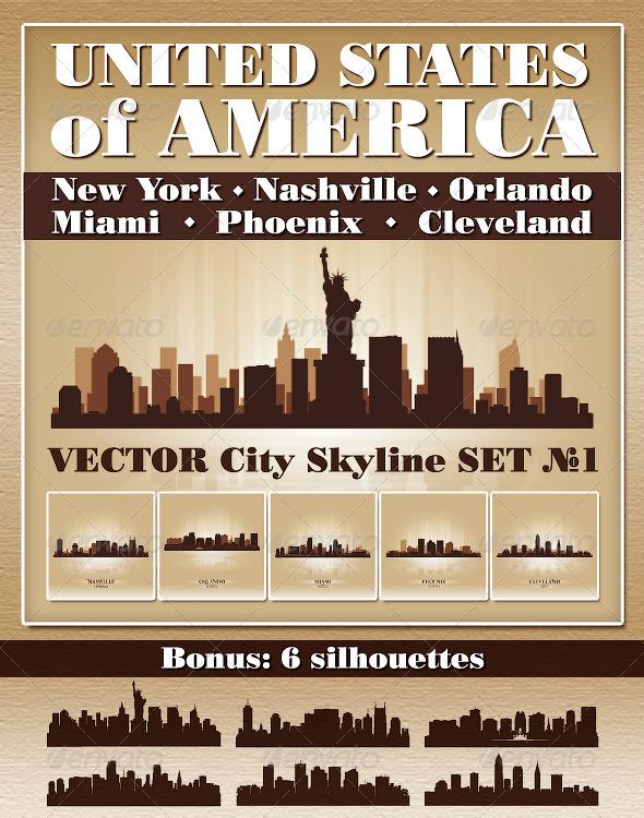 GraphicRiver Vector City Skyline USA Set Number 1 4726666