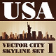 Vector City Skyline USA Set Number 1 - GraphicRiver Item for Sale