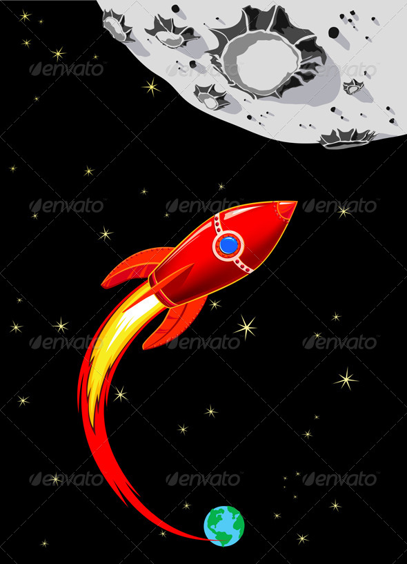 GraphicRiver Rocket Spaceship to the Moon 4726671