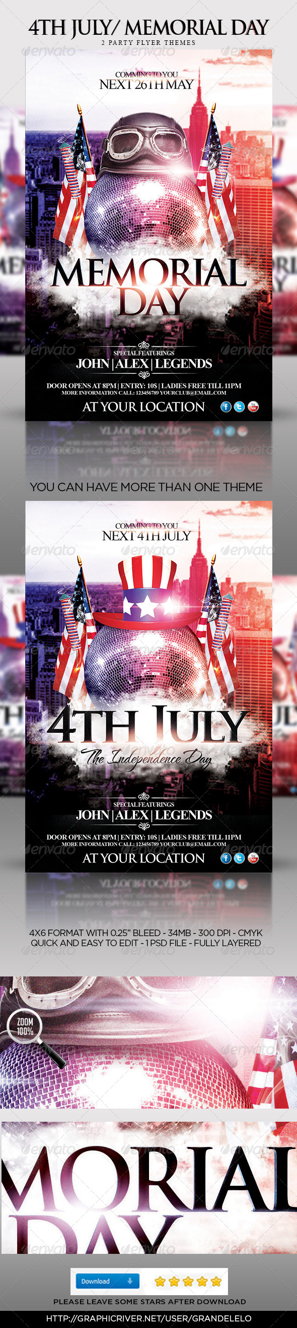 GraphicRiver 4th July Memorial Day Party Flyer Template 4649659