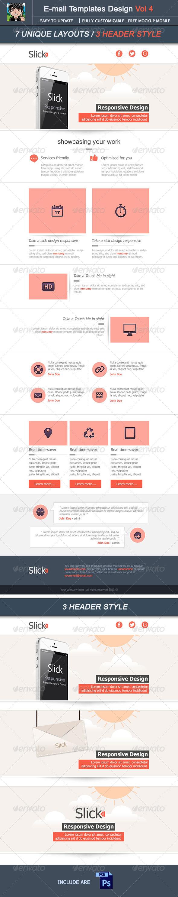 GraphicRiver Slick E-mail Template Design Vol 4 4726881