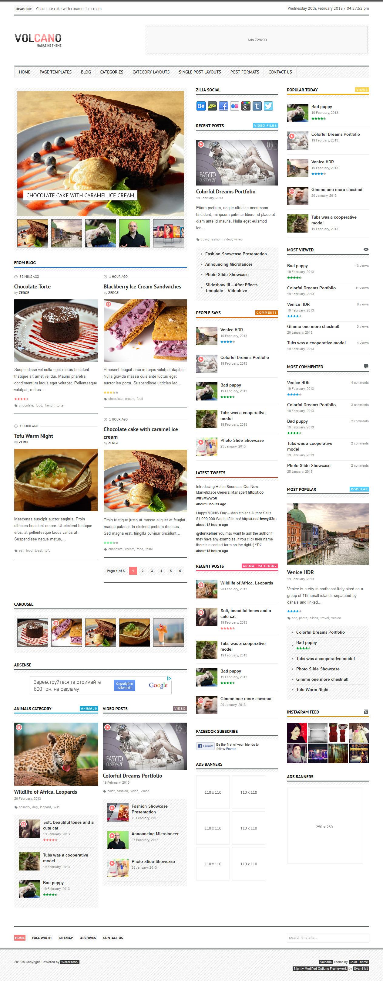 Volcano - Responsive WordPress Magazine / Blog - Home Page