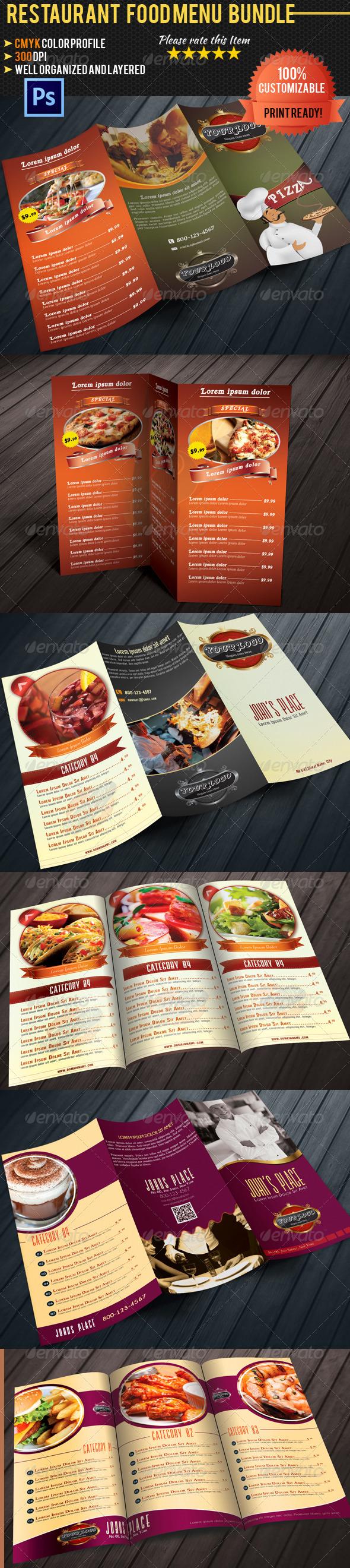 GraphicRiver Tri-fold Restaurant Food Menu Template Bundle 4727260