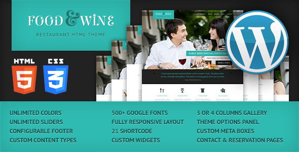 ThemeForest Food & Wine Responsive Wordpress Theme 4699217