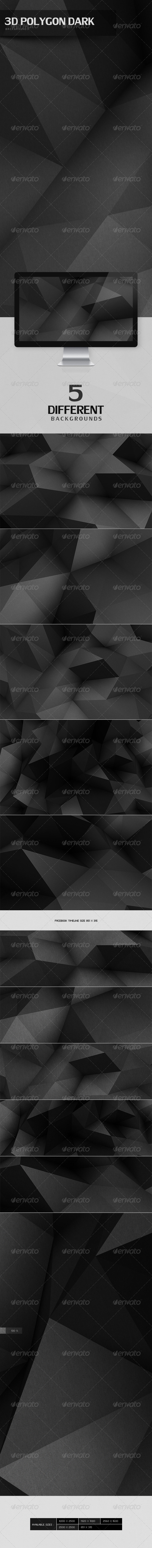 GraphicRiver 3D Polygon Dark Backgrounds 4728302